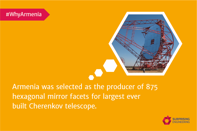 Armenia as the producer of 875 hexagonal mirror facets for largest ever built Cherenkov telescope.