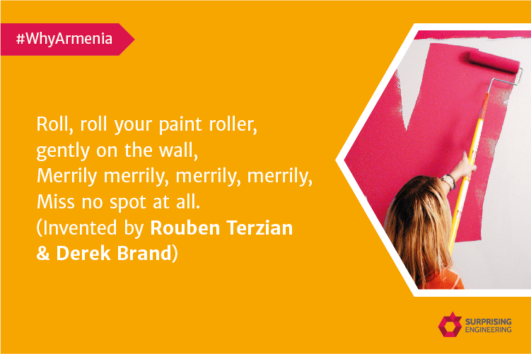 With Rouben Terzian's invention of a paint roller, painting is a piece of cake! ​